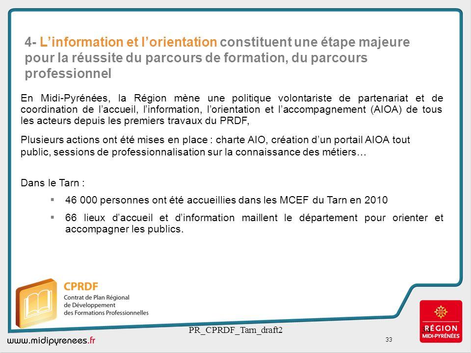 PR_CPRDF_Tarn_draft234 En Midi-Pyrénées, la Région mène une politique volontariste de partenariat et de coordination de laccueil, linformation, lorien
