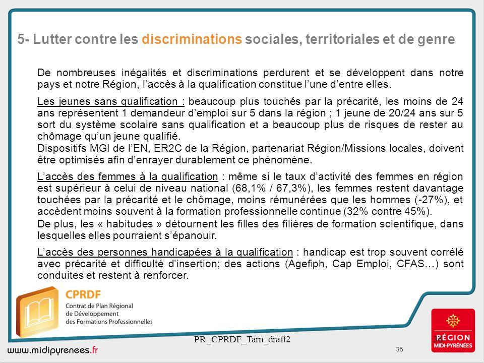 PR_CPRDF_Tarn_draft236 De nombreuses inégalités et discriminations perdurent et se développent dans notre pays et notre Région, laccès à la qualificat