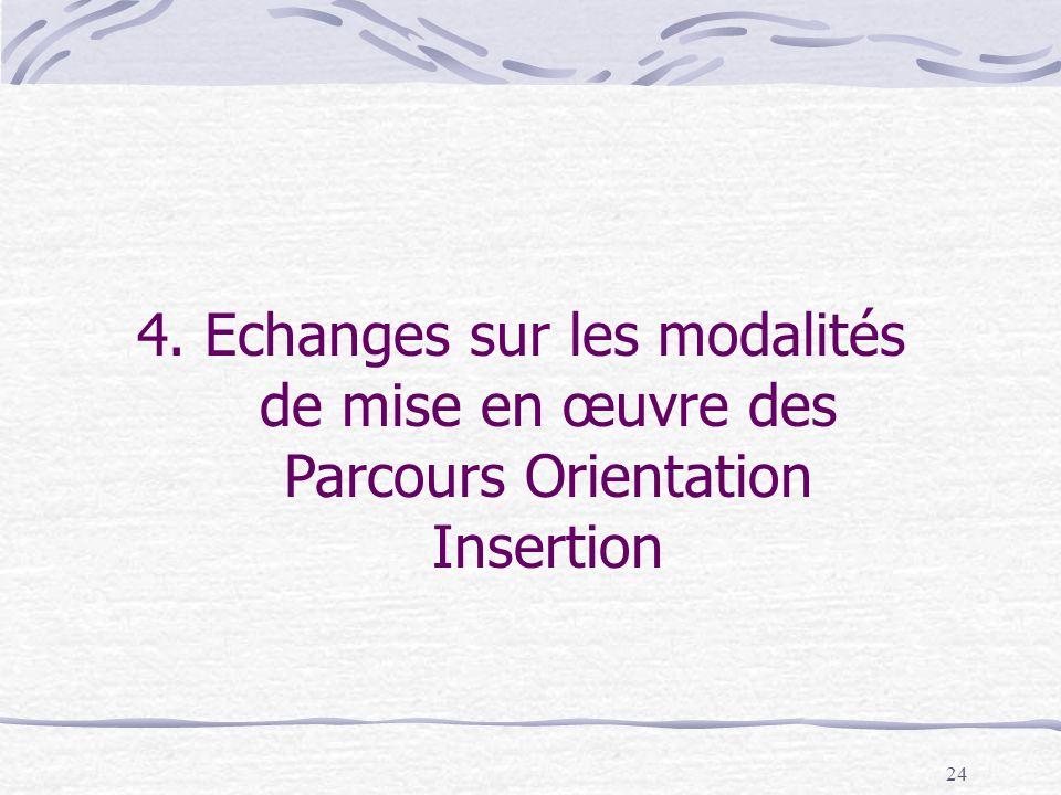 24 4. Echanges sur les modalités de mise en œuvre des Parcours Orientation Insertion