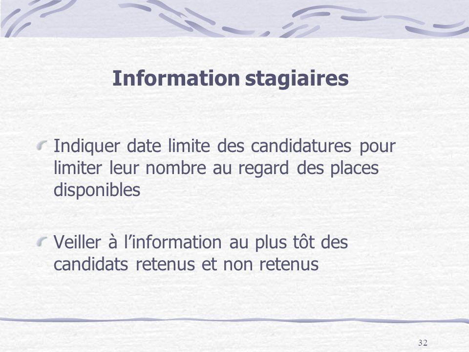 32 Information stagiaires Indiquer date limite des candidatures pour limiter leur nombre au regard des places disponibles Veiller à linformation au plus tôt des candidats retenus et non retenus