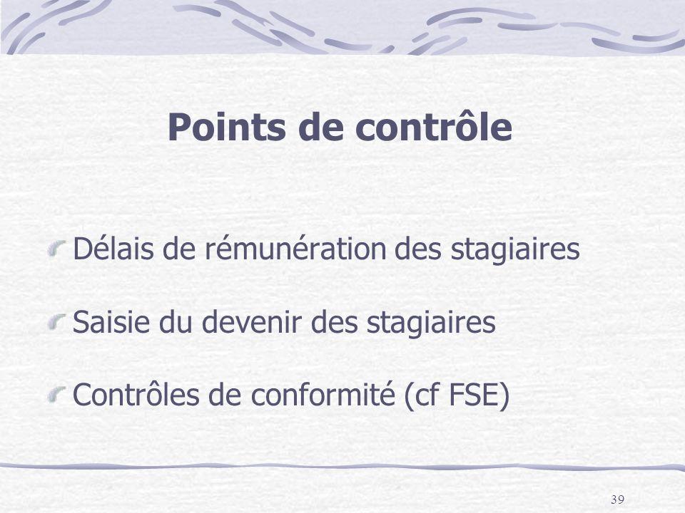 39 Points de contrôle Délais de rémunération des stagiaires Saisie du devenir des stagiaires Contrôles de conformité (cf FSE)