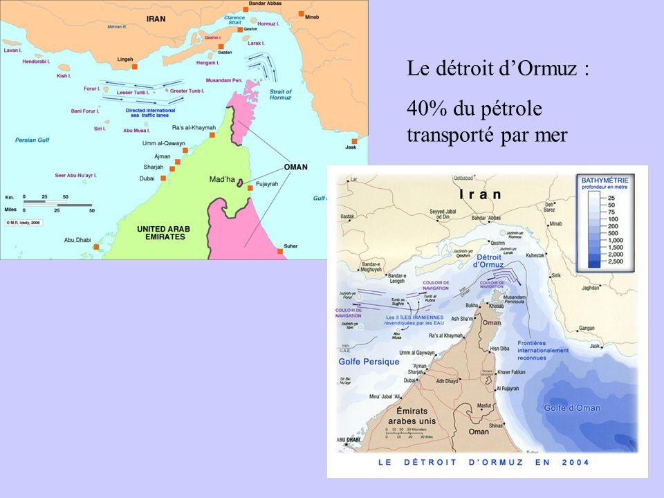 Le détroit dOrmuz : 40% du pétrole transporté par mer