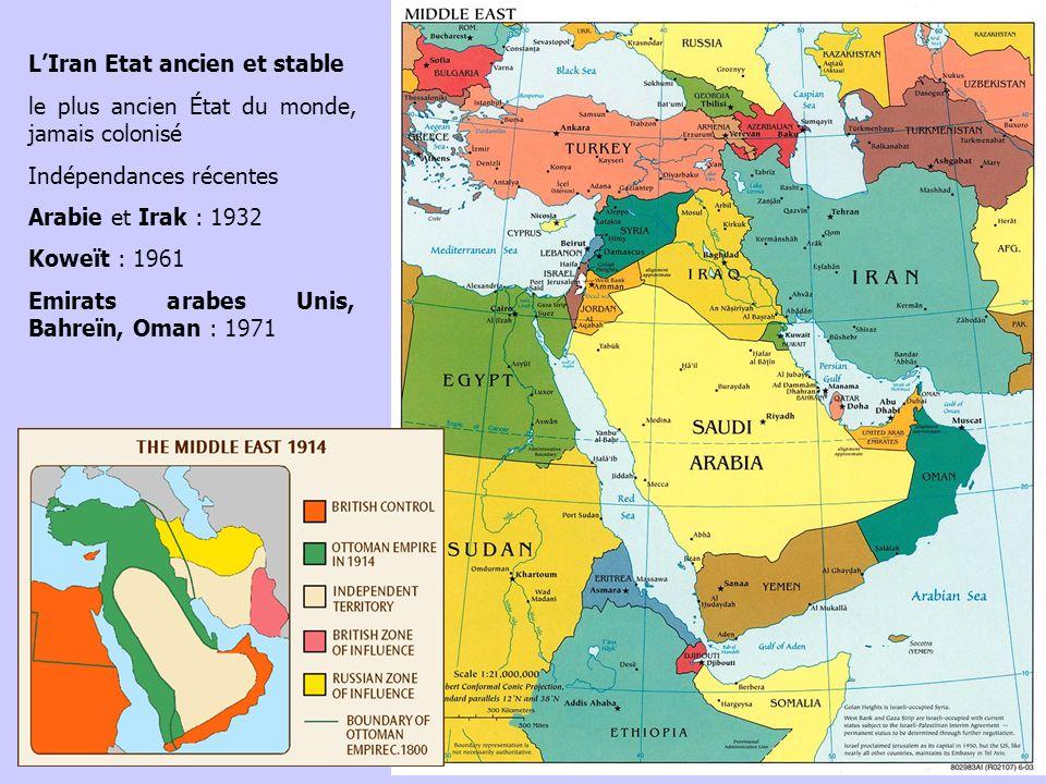 LIran Etat ancien et stable le plus ancien État du monde, jamais colonisé Indépendances récentes Arabie et Irak : 1932 Koweït : 1961 Emirats arabes Un