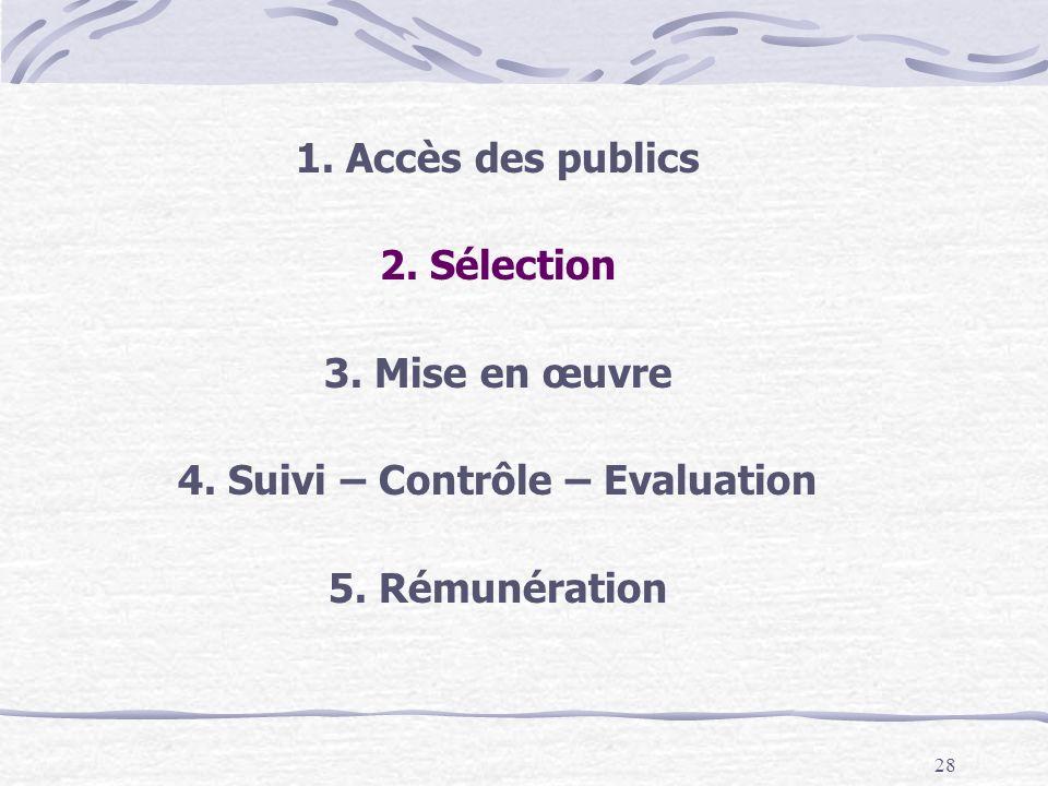 28 1.Accès des publics 2. Sélection 3. Mise en œuvre 4.