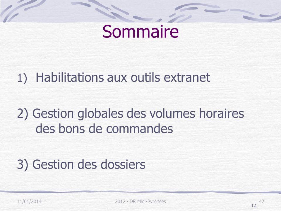 42 11/01/20142012 - DR Midi-Pyrénées42 Sommaire 1) Habilitations aux outils extranet 2) Gestion globales des volumes horaires des bons de commandes 3) Gestion des dossiers