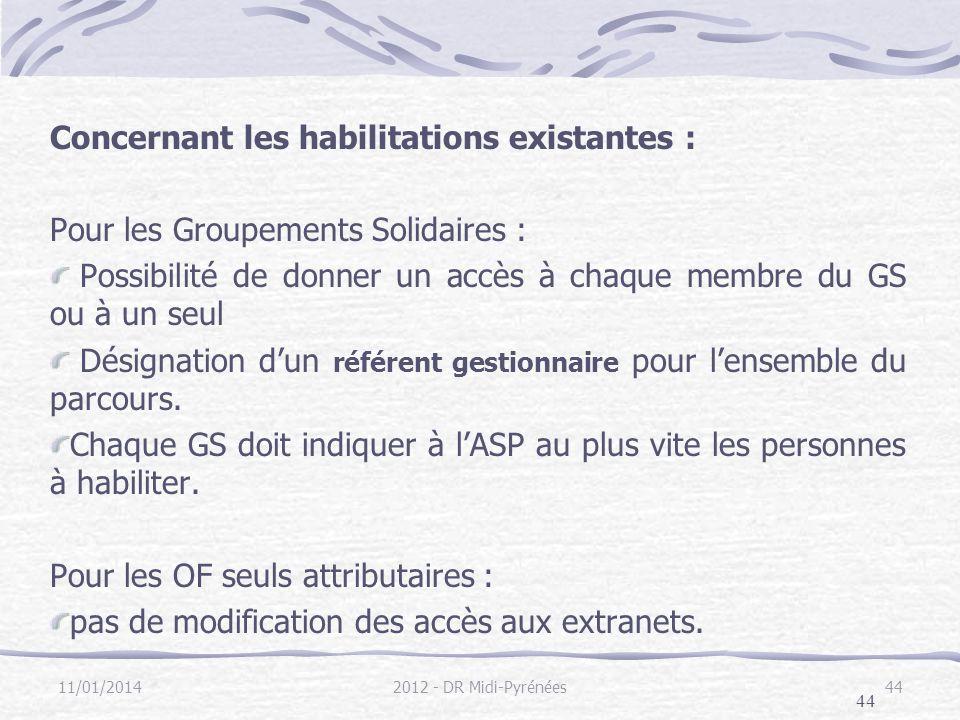 44 Concernant les habilitations existantes : Pour les Groupements Solidaires : Possibilité de donner un accès à chaque membre du GS ou à un seul Désignation dun référent gestionnaire pour lensemble du parcours.
