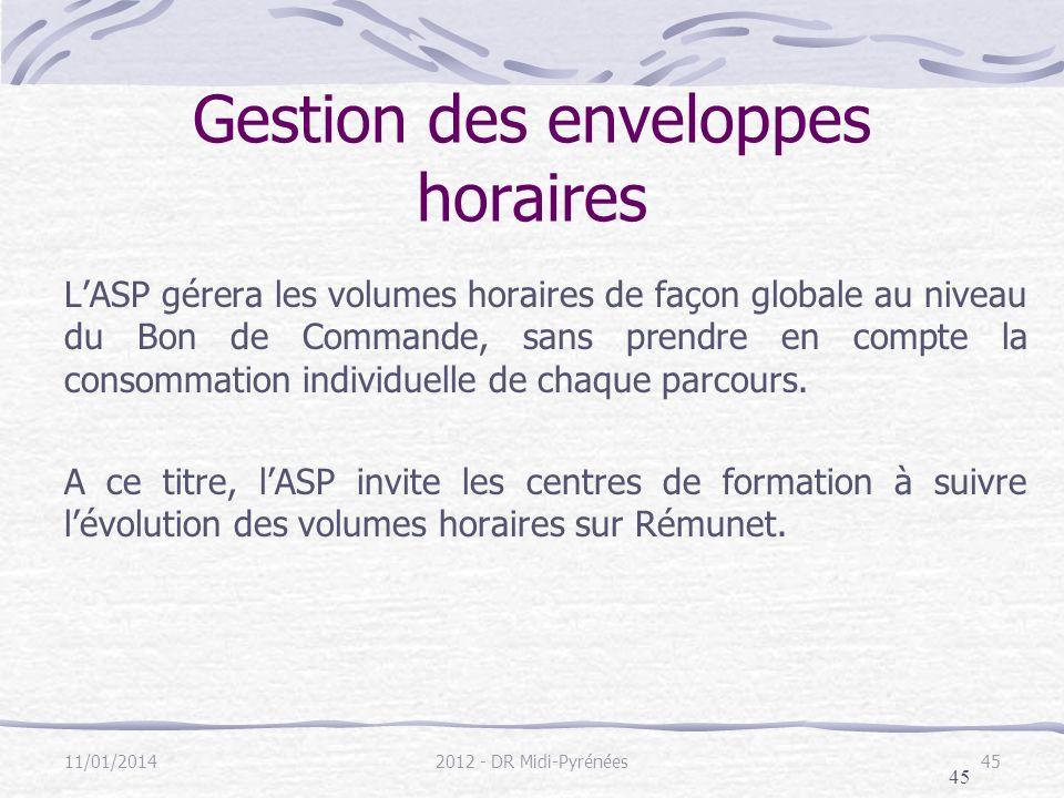 45 Gestion des enveloppes horaires LASP gérera les volumes horaires de façon globale au niveau du Bon de Commande, sans prendre en compte la consommation individuelle de chaque parcours.