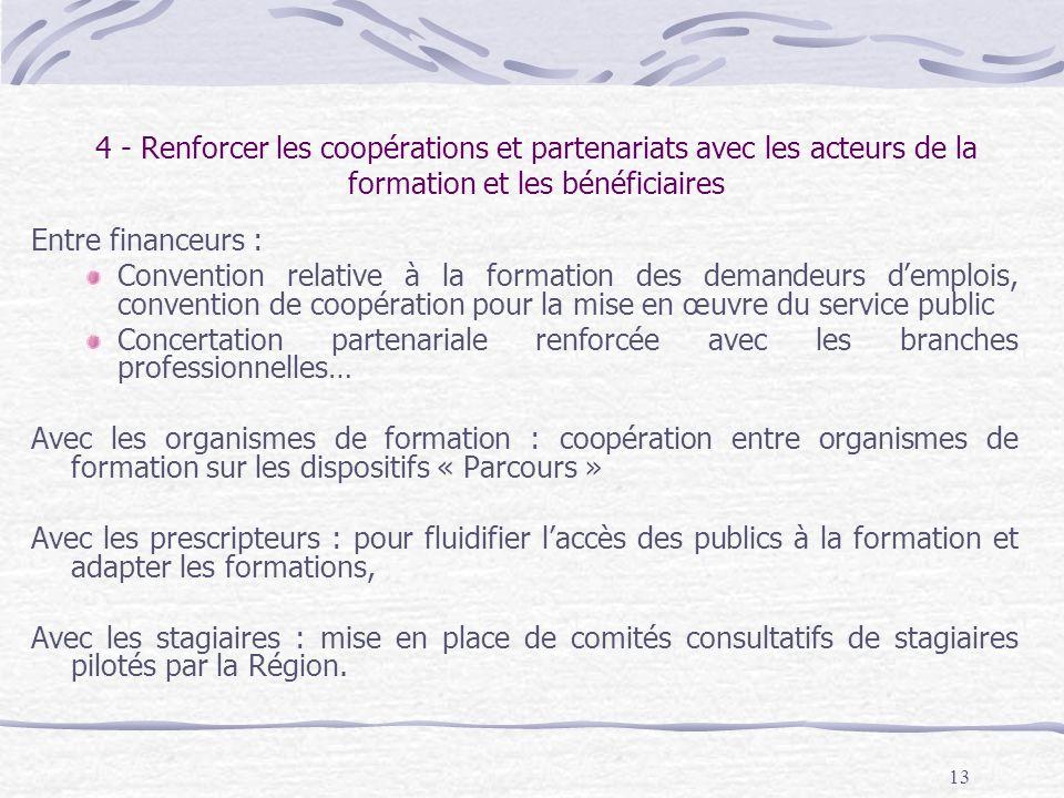 13 4 - Renforcer les coopérations et partenariats avec les acteurs de la formation et les bénéficiaires Entre financeurs : Convention relative à la fo