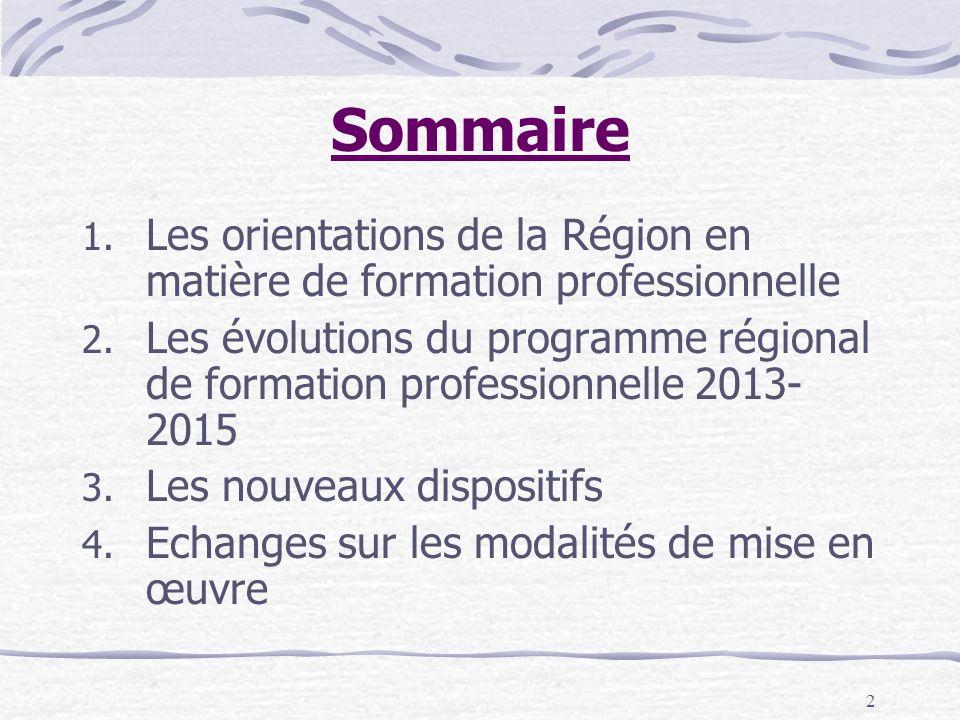 2 Sommaire 1. Les orientations de la Région en matière de formation professionnelle 2. Les évolutions du programme régional de formation professionnel