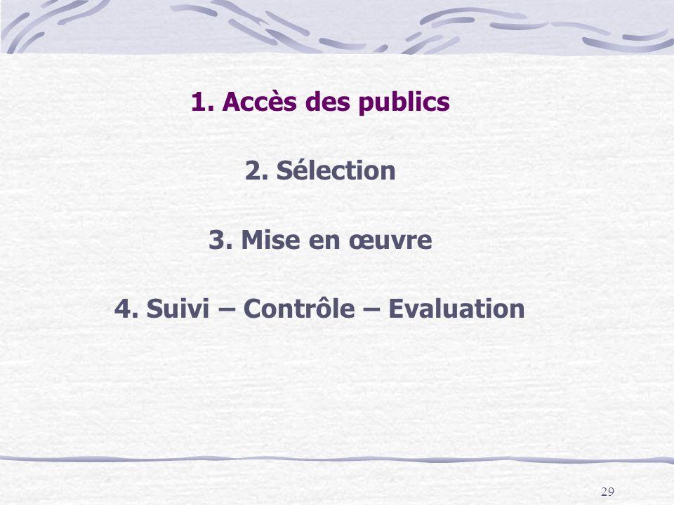 29 1. Accès des publics 2. Sélection 3. Mise en œuvre 4. Suivi – Contrôle – Evaluation