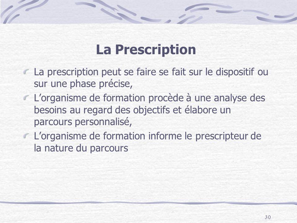 30 La Prescription La prescription peut se faire se fait sur le dispositif ou sur une phase précise, Lorganisme de formation procède à une analyse des