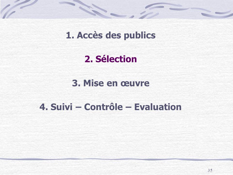 35 1. Accès des publics 2. Sélection 3. Mise en œuvre 4. Suivi – Contrôle – Evaluation