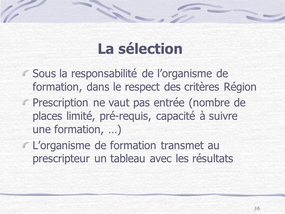 36 La sélection Sous la responsabilité de lorganisme de formation, dans le respect des critères Région Prescription ne vaut pas entrée (nombre de plac