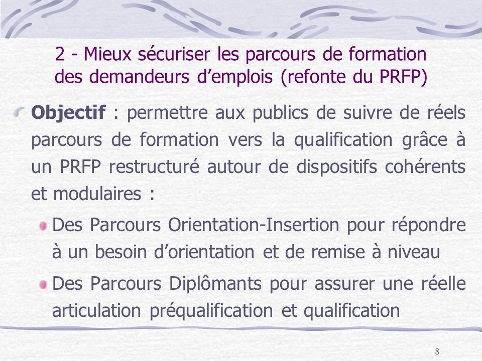 8 2 - Mieux sécuriser les parcours de formation des demandeurs demplois (refonte du PRFP) Objectif : permettre aux publics de suivre de réels parcours