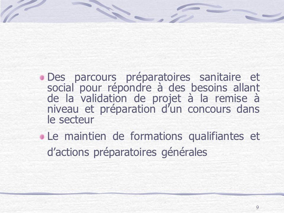 9 Des parcours préparatoires sanitaire et social pour répondre à des besoins allant de la validation de projet à la remise à niveau et préparation dun