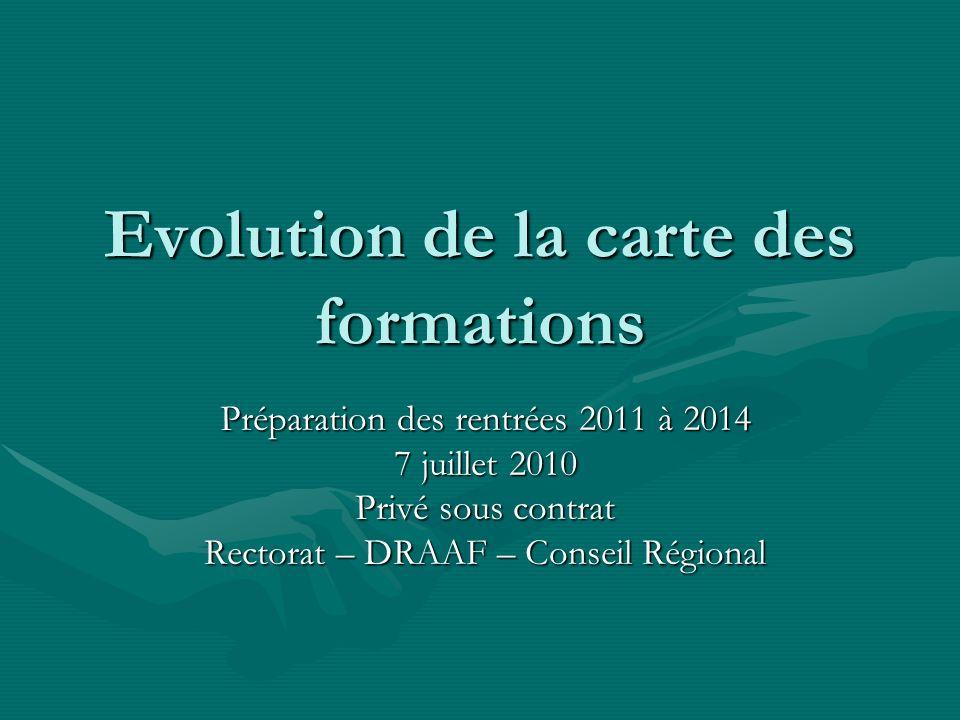 Evolution de la carte des formations Préparation des rentrées 2011 à 2014 7 juillet 2010 Privé sous contrat Rectorat – DRAAF – Conseil Régional
