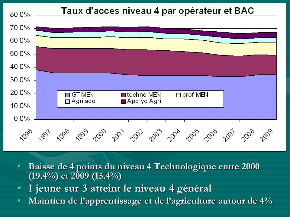 Baisse de 4 points du niveau 4 Technologique entre 2000 (19.4%) et 2009 (15.4%)Baisse de 4 points du niveau 4 Technologique entre 2000 (19.4%) et 2009