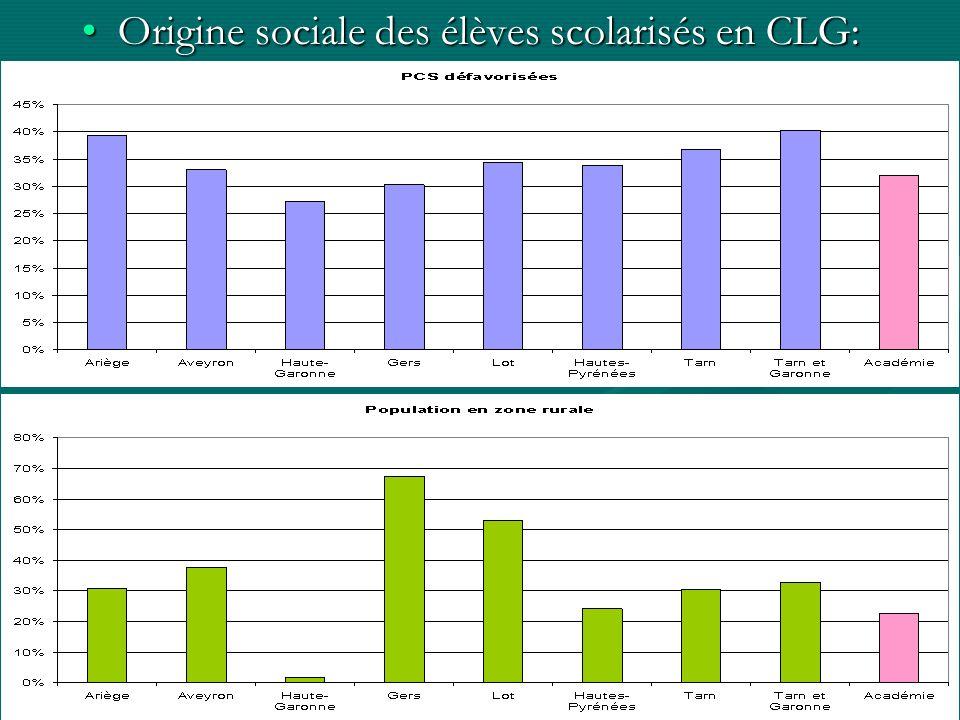 Origine sociale des élèves scolarisés en CLG:Origine sociale des élèves scolarisés en CLG:
