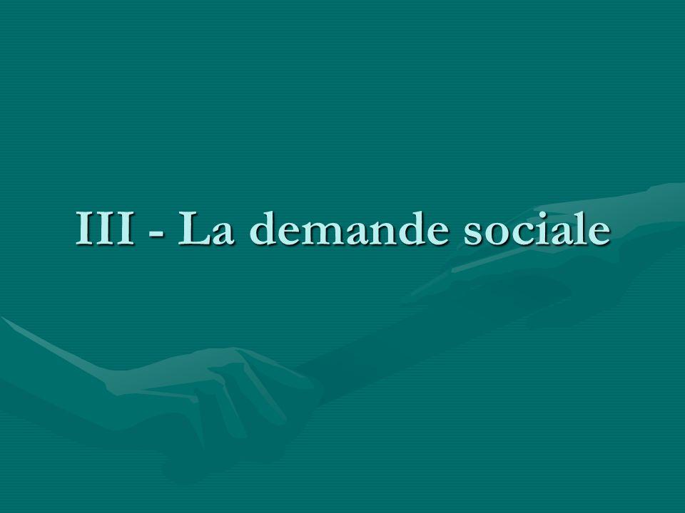 III - La demande sociale