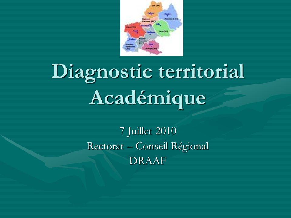 Diagnostic territorial Académique 7 Juillet 2010 Rectorat – Conseil Régional DRAAF