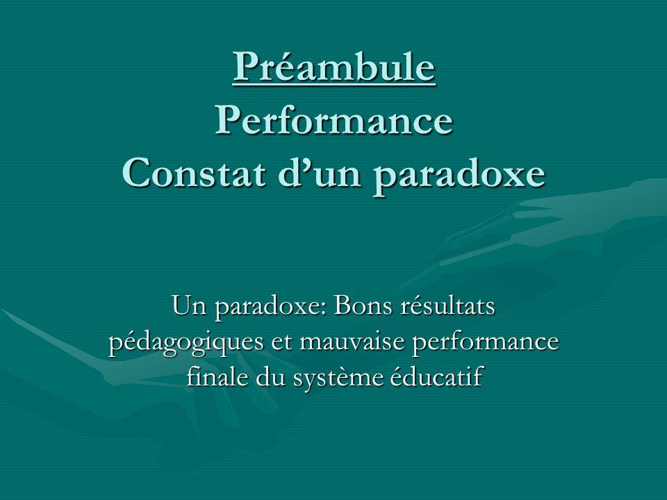 Préambule Performance Constat dun paradoxe Un paradoxe: Bons résultats pédagogiques et mauvaise performance finale du système éducatif