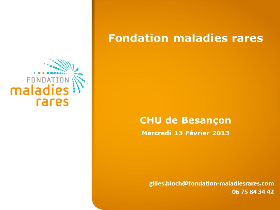 Fondation maladies rares CHU de Besançon Mercredi 13 Février 2013 gilles.bloch@fondation-maladiesrares.com 06 75 84 34 42