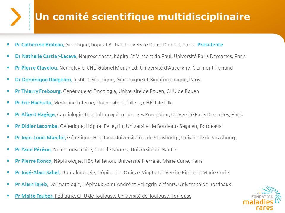 Un comité scientifique multidisciplinaire Pr Catherine Boileau, Génétique, hôpital Bichat, Université Denis Diderot, Paris - Présidente Dr Nathalie Ca