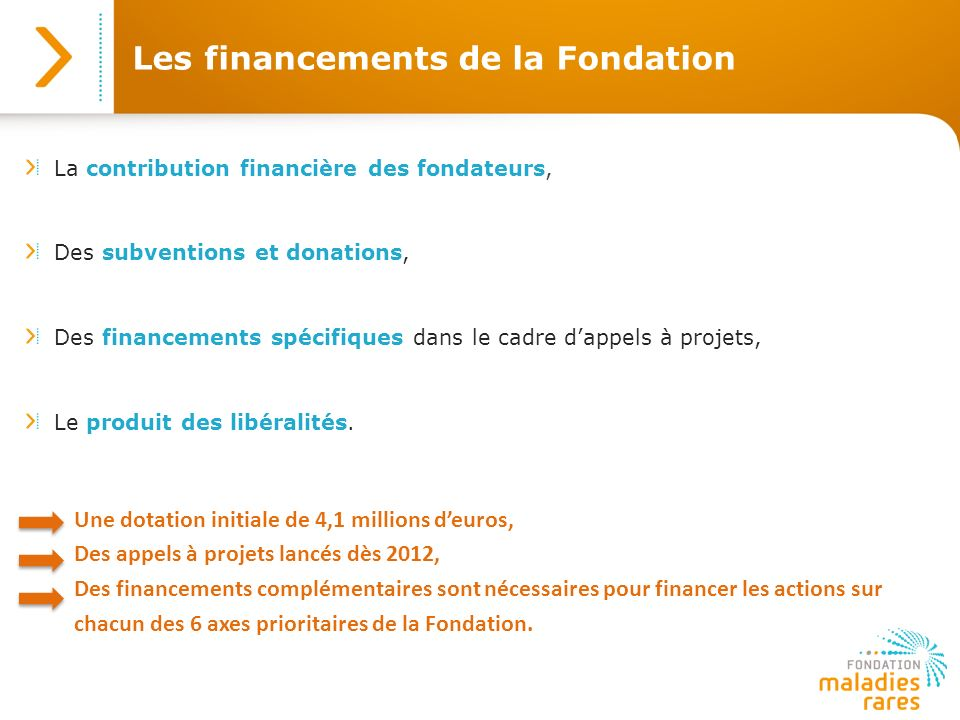 Les financements de la Fondation La contribution financière des fondateurs, Des subventions et donations, Des financements spécifiques dans le cadre d