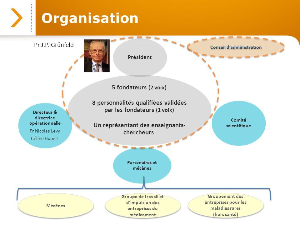 Organisation 5 fondateurs (2 voix) 8 personnalités qualifiées validées par les fondateurs (1 voix) Un représentant des enseignants- chercheurs Préside
