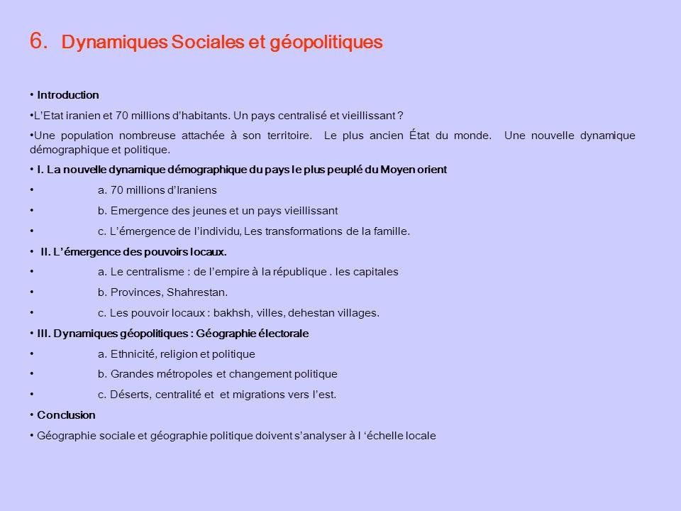6. Dynamiques Sociales et géopolitiques Introduction LEtat iranien et 70 millions dhabitants.