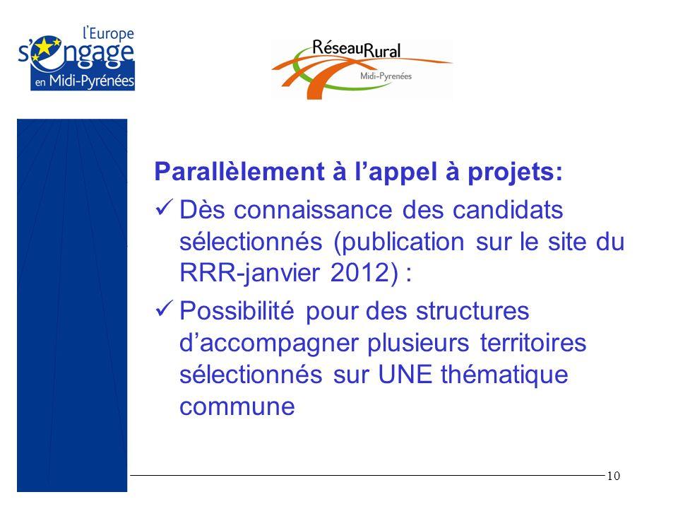 10 Parallèlement à lappel à projets: Dès connaissance des candidats sélectionnés (publication sur le site du RRR-janvier 2012) : Possibilité pour des