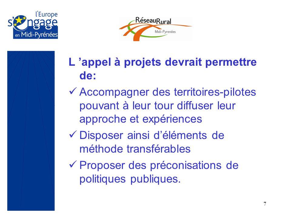 7 L appel à projets devrait permettre de: Accompagner des territoires-pilotes pouvant à leur tour diffuser leur approche et expériences Disposer ainsi