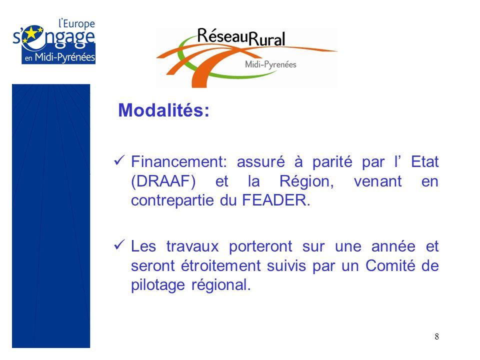 8 Modalités: Financement: assuré à parité par l Etat (DRAAF) et la Région, venant en contrepartie du FEADER. Les travaux porteront sur une année et se