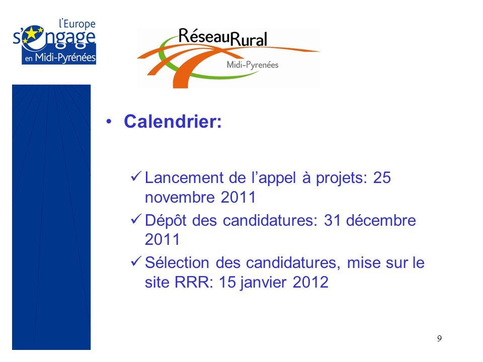 9 Calendrier: Lancement de lappel à projets: 25 novembre 2011 Dépôt des candidatures: 31 décembre 2011 Sélection des candidatures, mise sur le site RR