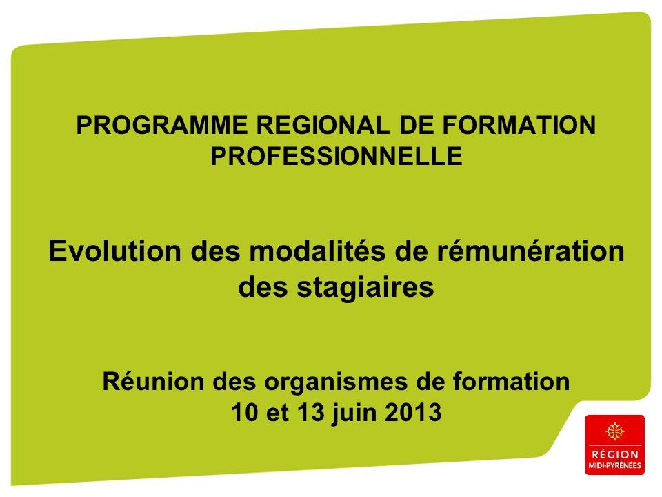 1 PROGRAMME REGIONAL DE FORMATION PROFESSIONNELLE Evolution des modalités de rémunération des stagiaires Réunion des organismes de formation 10 et 13 juin 2013