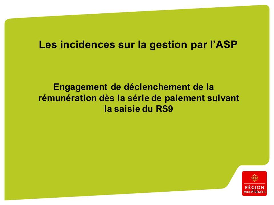 11 Les incidences sur la gestion par lASP Engagement de déclenchement de la rémunération dès la série de paiement suivant la saisie du RS9