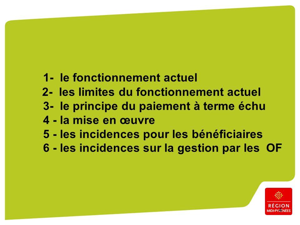 4 1- le fonctionnement actuel 2- les limites du fonctionnement actuel 3- le principe du paiement à terme échu 4 - la mise en œuvre 5 - les incidences pour les bénéficiaires 6 - les incidences sur la gestion par les OF