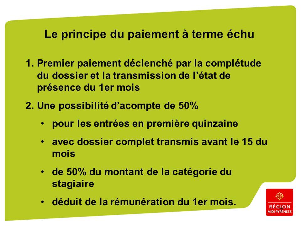 7 Le principe du paiement à terme échu 1.Premier paiement déclenché par la complétude du dossier et la transmission de létat de présence du 1er mois 2