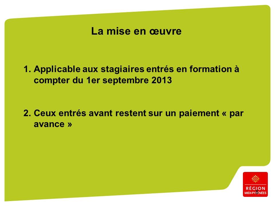 8 La mise en œuvre 1.Applicable aux stagiaires entrés en formation à compter du 1er septembre 2013 2.Ceux entrés avant restent sur un paiement « par avance »