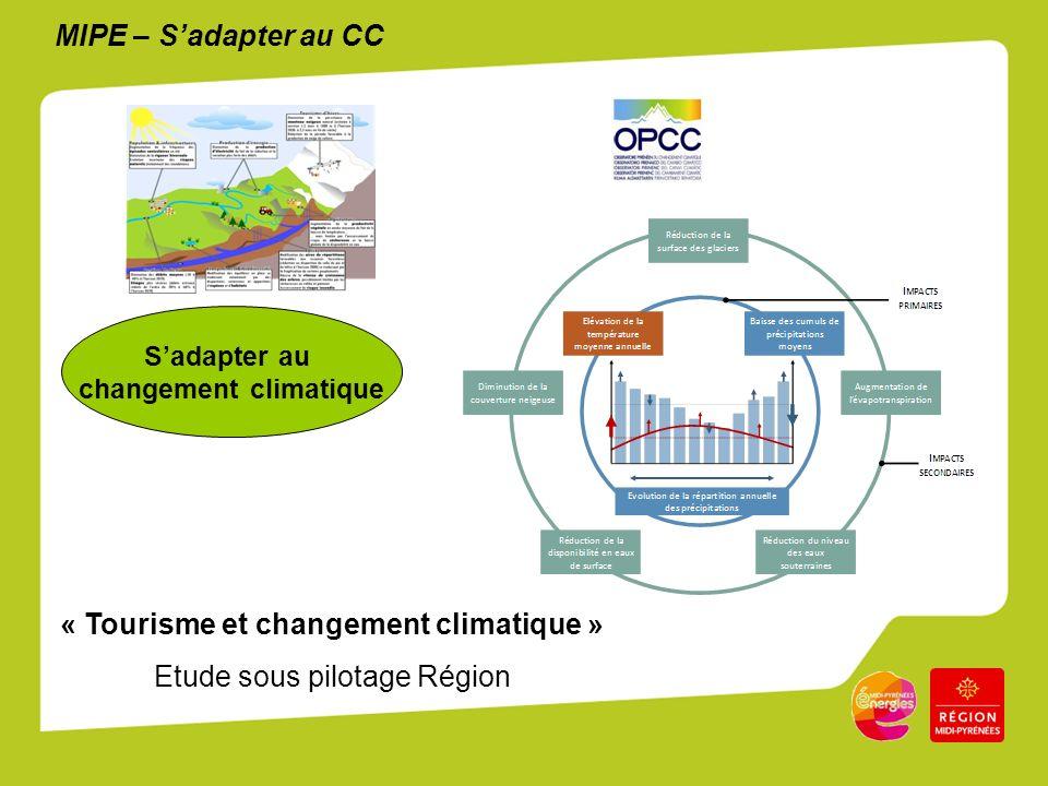 MIPE – Sadapter au CC Sadapter au changement climatique « Tourisme et changement climatique » Etude sous pilotage Région