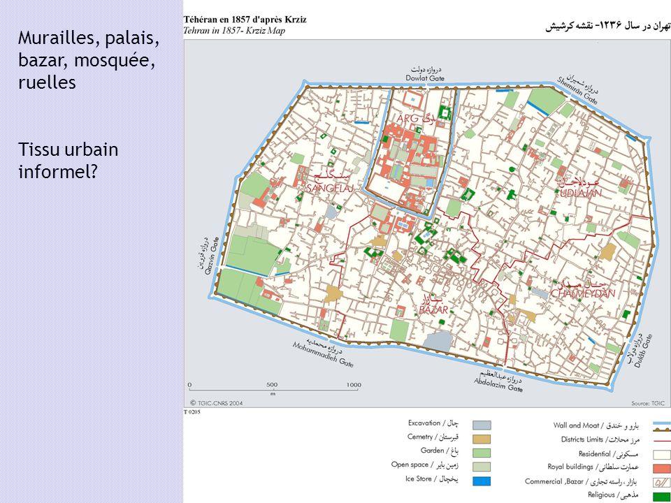 Murailles, palais, bazar, mosquée, ruelles Tissu urbain informel?