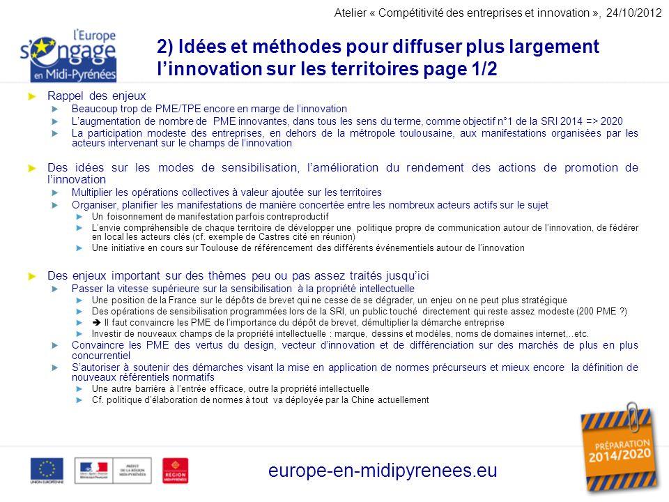 2) Idées et méthodes pour diffuser plus largement linnovation sur les territoires page 1/2 Rappel des enjeux Beaucoup trop de PME/TPE encore en marge