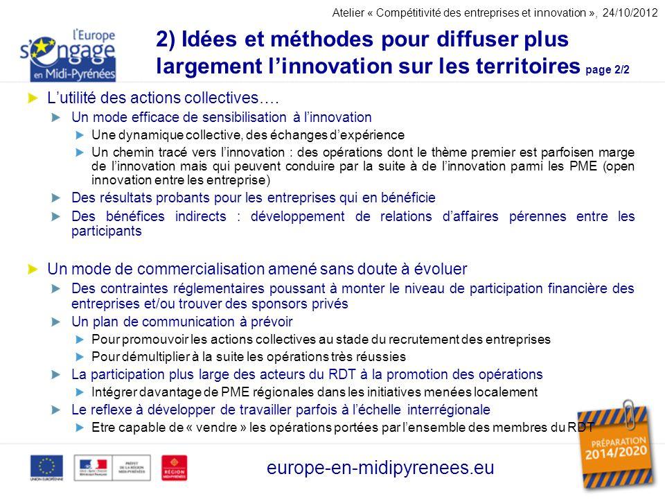2) Idées et méthodes pour diffuser plus largement linnovation sur les territoires page 2/2 Lutilité des actions collectives…. Un mode efficace de sens