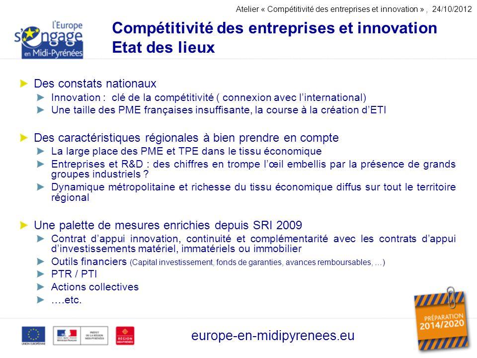 Compétitivité des entreprises et innovation Etat des lieux europe-en-midipyrenees.eu Des constats nationaux Innovation : clé de la compétitivité ( con