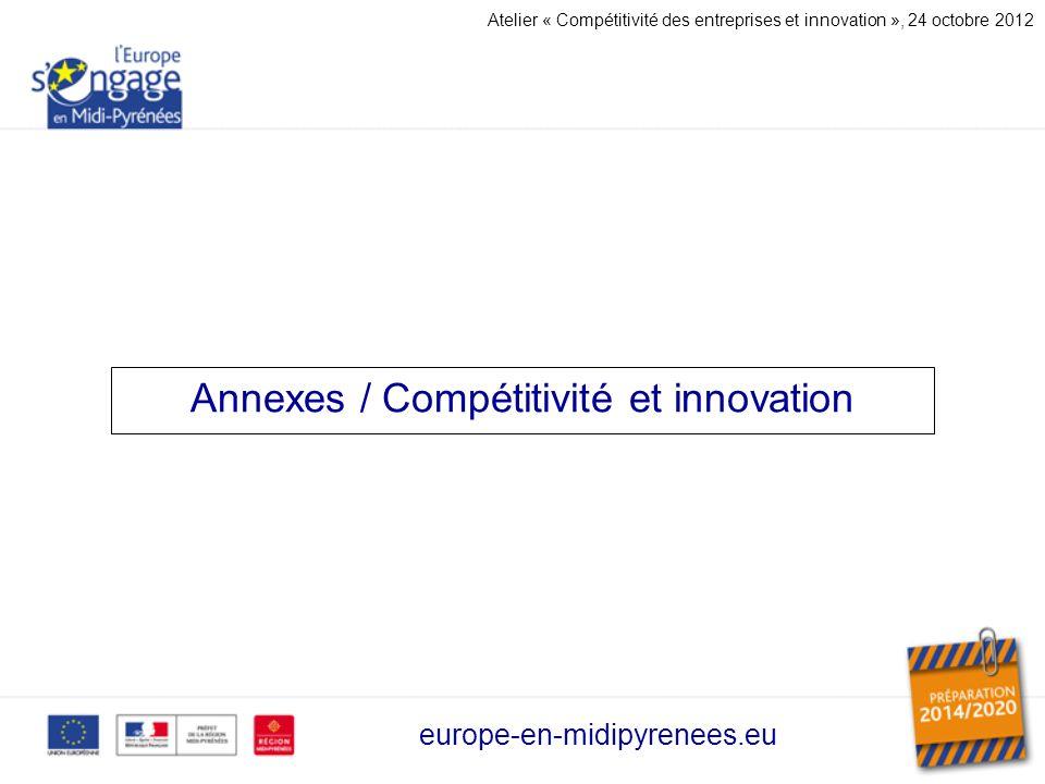 Annexes / Compétitivité et innovation europe-en-midipyrenees.eu Atelier « Compétitivité des entreprises et innovation », 24 octobre 2012