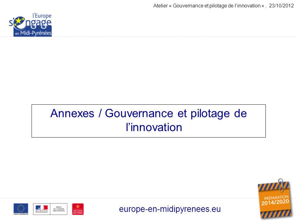Annexes / Gouvernance et pilotage de linnovation europe-en-midipyrenees.eu Atelier « Gouvernance et pilotage de linnovation », 23/10/2012
