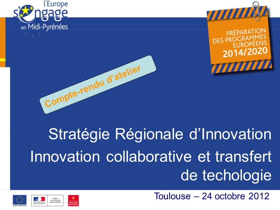 Stratégie Régionale dInnovation Innovation collaborative et transfert de techologie XX octobre 2012 Toulouse – 24 octobre 2012 Compte-rendu datelier