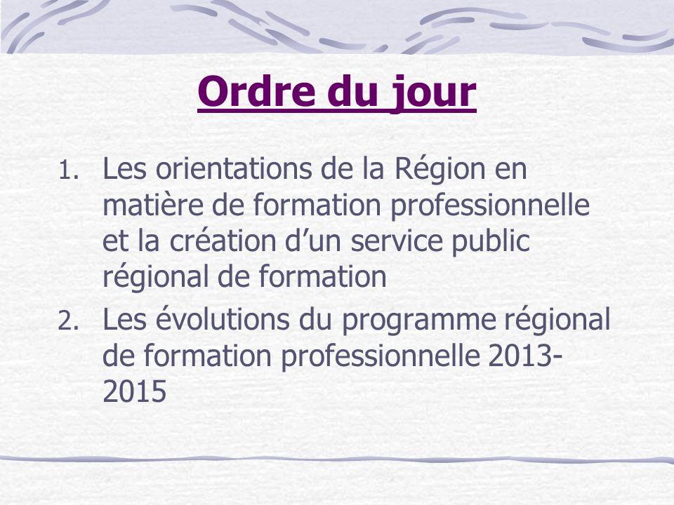 Ordre du jour 1. Les orientations de la Région en matière de formation professionnelle et la création dun service public régional de formation 2. Les