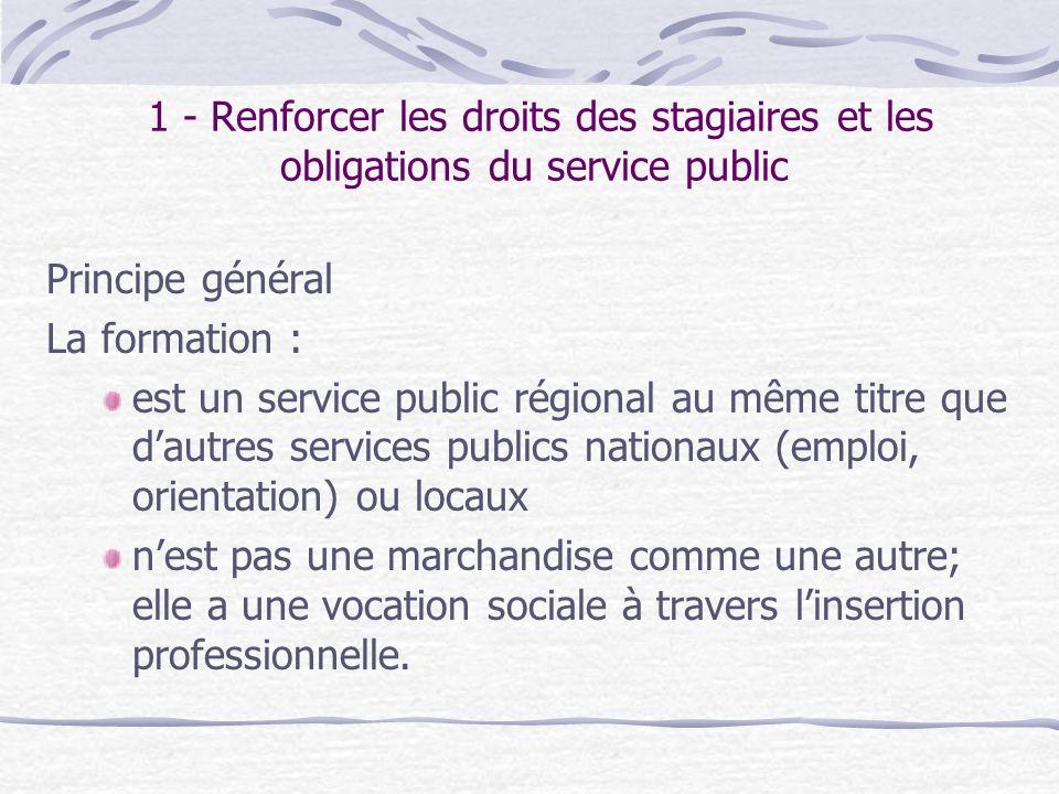 1 - Renforcer les droits des stagiaires et les obligations du service public Principe général La formation : est un service public régional au même ti