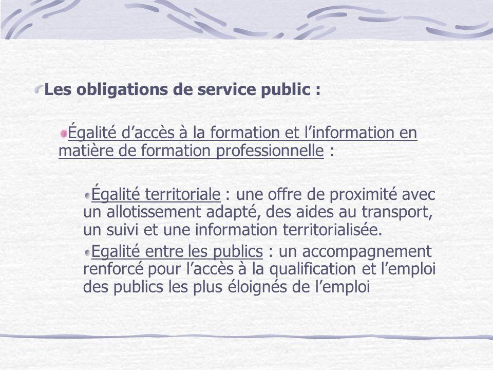 Les obligations de service public : Égalité daccès à la formation et linformation en matière de formation professionnelle : Égalité territoriale : une